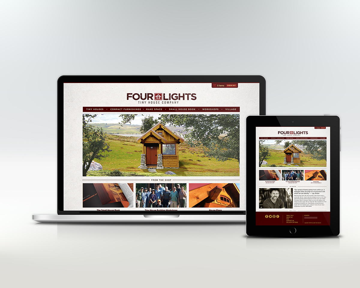 Four Lights Tiny House Company Website Lala Design